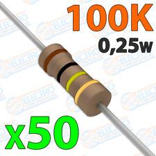 50x Resistencias 100K OHM 5% 1/4w 0,25w carbon film pelicula