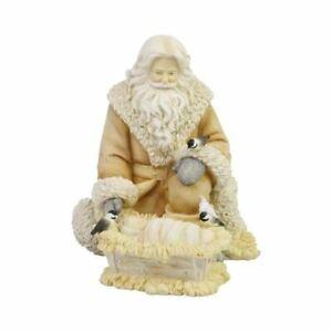 "Kneeling Woodland Santa 6006538 Baby Jesus Manger 6.1"" H Resin Figurine"