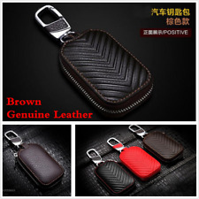 Brown Genuine Leather Car KeyChain Key Fob Holder Wallet Case key Organizer Bag