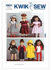 "Kwik Sew SEWING PATTERN K2921 Clothes For 18""/45cm Dolls"