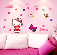 Wall Stickers Hello Kitty Flowers Pink Cute For Kid Room Bedroom Children Room