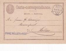 Switzerland 1875 Franz Muller Rost to Zug Postcard used VGC