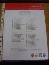 04/08/2013 Colour Teamsheet: Emirates Cup - Arsenal v Galatasaray  .  Footy Prog