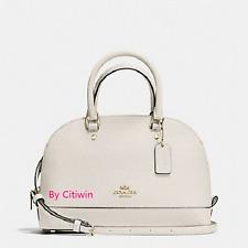 New Coach F57555 mini Sierra Leather Satchel Shoulder Bag Handbag Purse White