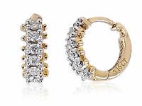 0,32 Cts Runde Brilliant Cut Diamanten Creolen Ohrringe In Solides 18K Gelbgold