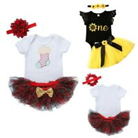 Infant Baby Girls Christmas Romper Dress Outfits Tutu Skirt Xmas Party Clothes