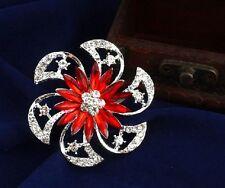 Luccicante Rosso Ruota Diamante Strass Cristallo Fiore Spilla Party