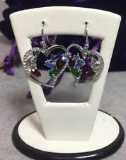 Sis Simone I Smith MultiColor Crystal Heart Drop Earrings Platinum over Silver