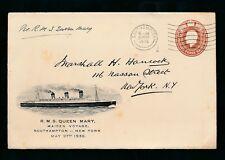 Marittima 1936 illust.stationery Queen Mary MAIDEN VOYAGE USATO Southampton 27 maggio