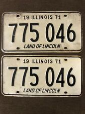 Vintage Pair of Nice 1971 IL Land of Lincoln used auto plates/tags