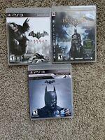Batman Arkham Trilogy Playstation 3 PS3 Games Lot/Bundle - Asylum, Origins, City