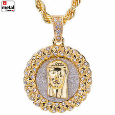 "Men's Hip Hop Gold Plated Iced Out Jesus Round Pendant 24"" Rope Chain HC 118 G"
