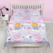 PEPPA PIG SLEEPY DOUBLE DUVET COVER SET BEDDING REVERSIBLE KIDS