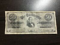 1864 $50 FIFTY Dollars Confederate States of America Civil War Currency COPY