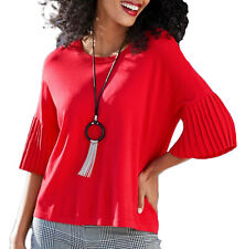 Ladies Red Top with Pleated Sleeves in UK Plus Sizes