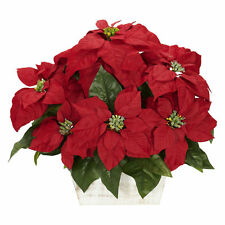"Artificial 16.5"" Red Poinsettia Flowers Arrangement in Rustic White Wash Planter"