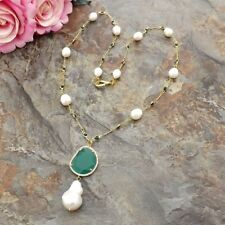 Keshi Pearl Pendant  White Rice Pearl Green Crystal Chain Necklace