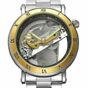 Mens Unique Luxury Skeleton Leather Transparent Automatic Mechanical Wrist Watch