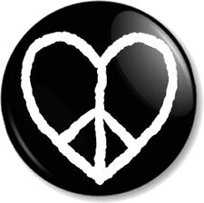 """Peace Symbol Heart 25mm 1"""" Pin Button Badge Ban the Bomb Sign Hippie Love Flag"""