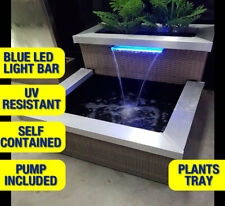Outdoor Indoor Water Feature Rattan Fountain with Blue LED lights include Pump