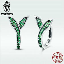 Voroco Fashion Leaf 925 Sterling Silver Hoop Stud Earrings With Green CZ Jewelry
