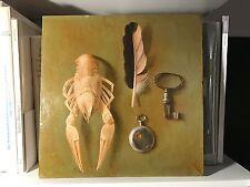 TROMPE L'OEIL Oil Painting (lobster/feather/key/watch) Vintage Soviet/Russian