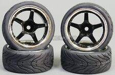 RC 1/10 Street WHEELS TIRES Package 3MM Offset BLACK 5 STAR W/ CHROME LIP (4PCS)