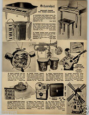1962 PAPER AD Schoenhut Toy Piano Barbie Ken Doll Record Album Sings Songs
