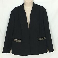 Gerry Weber Blazer Size 12 Black Jacket Bedazzled Textured Lined Bling Womens