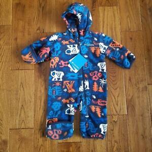 NWT Boys Fireside Cuddle Columbia Snowtop Fleece Bunting Snow Suit 3/6