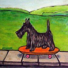 scottish terrier skateboard  animal DOG tile coaster gift for skate boarder art