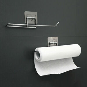 Kitchen Self-Adhesive Paper Towel Rack Toilet Roll Holder Wall Mount Tissue Rack
