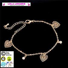 Chaine De Cheville Bracelet Chevillère Coeur Bijou Pied Plaqué Or Anklet C42