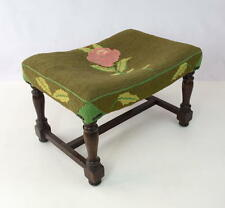Antique Floral Needlepoint Tapestry Foot Stool Vintage Carved Wood Ottoman Rose