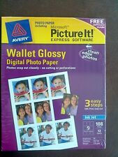 Avery Microsoft Picture It Wallet Glossy Express Software Digital Photo Paper