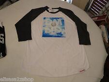 Diamond Supply Co Crooks Juniors Womens wht chr L Oversized 3/4 sleeve t shirt^^