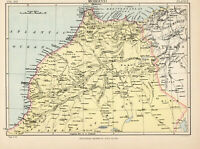 Antique Map Of Morocco North Africa Tangiers 1880