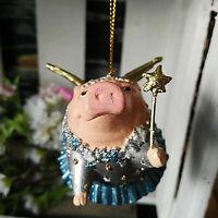 Ausgefallene Schweinfigur Schwein Flügel Ringel Hängen Silber Figur Dekoration