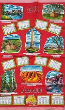 Vintage 'AUSTRALIA' 1983 City Sky Line BOTANY BAY Calendar Cotton TEA TOWEL