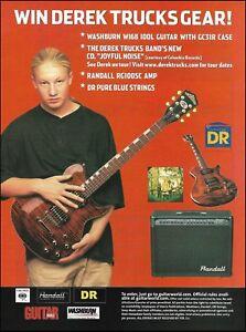 Allman Brothers Derek Trucks Band Washburn WI68 Idol guitar 2003 contest ad