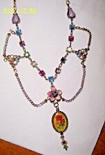 SPECIAL MICHAL NEGRIN DRAPED CUPPED CRYSTAL CHAIN NECKLACE W/ ROSES PENDANT