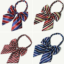 Women Lady Stripe Bow Knot Tie Student Girl Bowtie Cravat Party Banquet Necktie