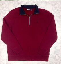 Nautica Men's Burgundy/Navy Half Zip L/S Pullover Sweatshirt Jacket XL