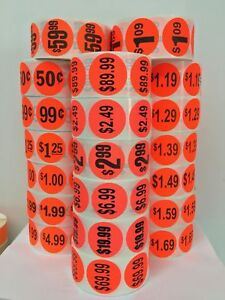 """Br/Red 1.5"""" Circle $10.00 Labels Sale Retail Grocery Deli Price Point (1000/RL)"""