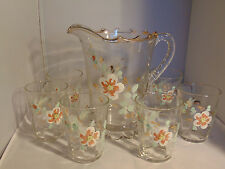 EAPG Jefferson Glass Scalloped Skirt Pitcher and Six Tumblers