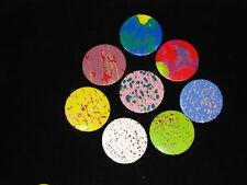 "Set - 8 Paint Splatter/ Watercolor 2.25"" Button Pinbacks Badges-80's Abstract"