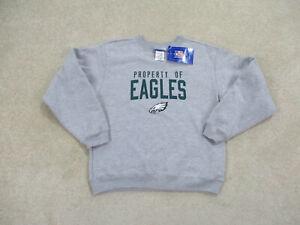 NEW Philadelphia Eagles Sweater Youth Medium Gray Green Reebok Football Kid Boy