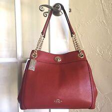 Coach 36855 Turnlock Edie Shoulder Bag Polished Leather Terracotta