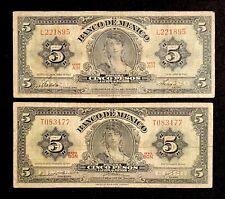 2 Banco Mexico Banknotes 5 Pesos Gypsy World Paper Money Bank Currency Bill Lot