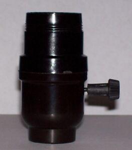 BLACK BAKELITE 3-WAY SWITCH TURN KNOB LAMP SOCKET WITH UNO THREADS NEW 30544J